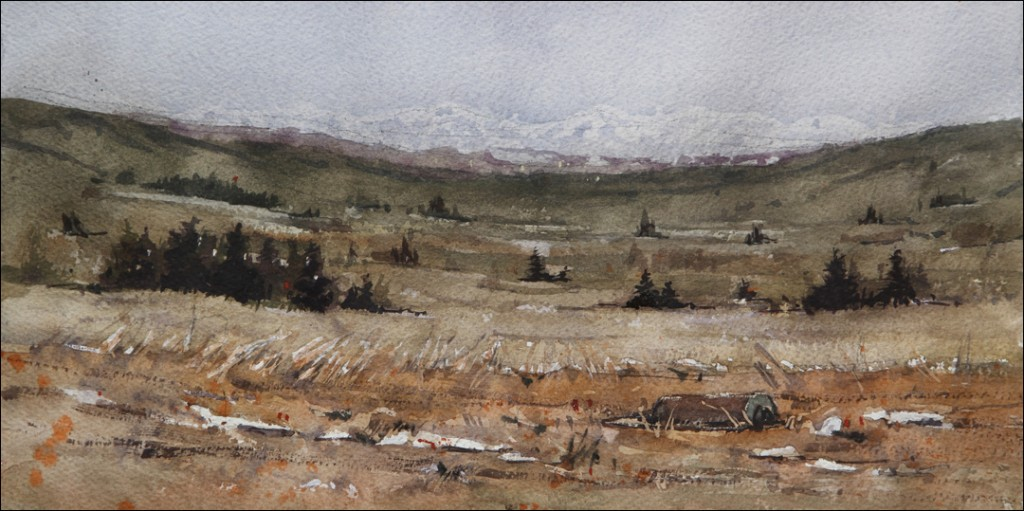 Rex Beanland, Morning Mountains, watercolour 9 x 13