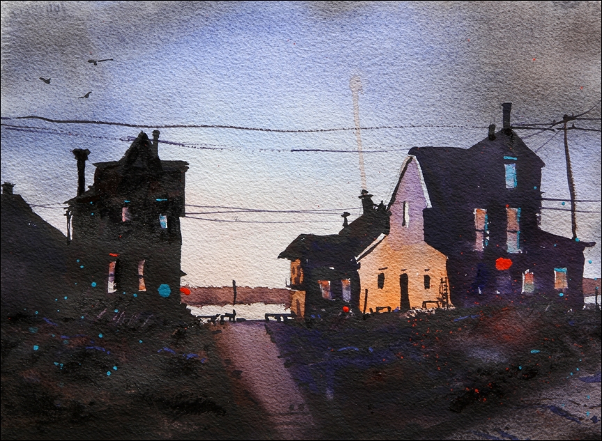 Rex Beanland, Dark Buildings Final, watercolour, 10 x 13