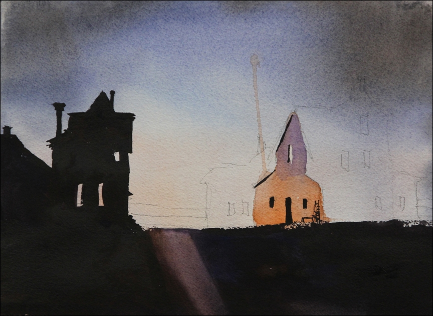 Rex Beanland, Dark Buildings at end of workshop, watercolour, 10 x 13