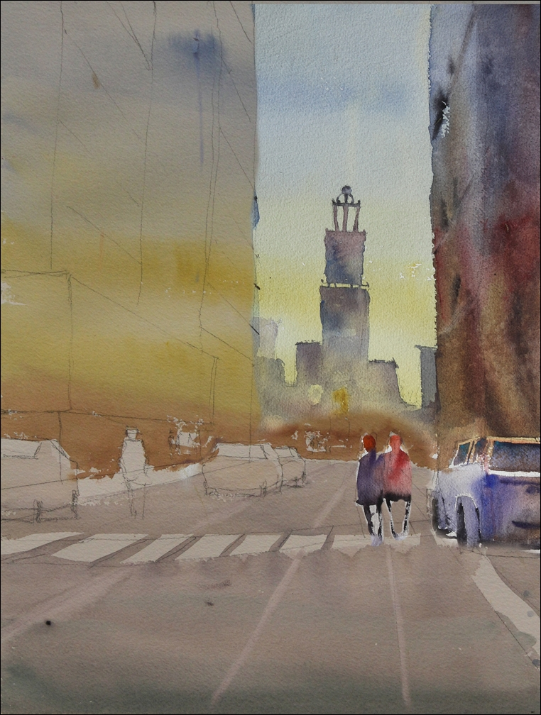 Rex Beanland, St Mary's at end of workshop, watercolour, 20 x 15