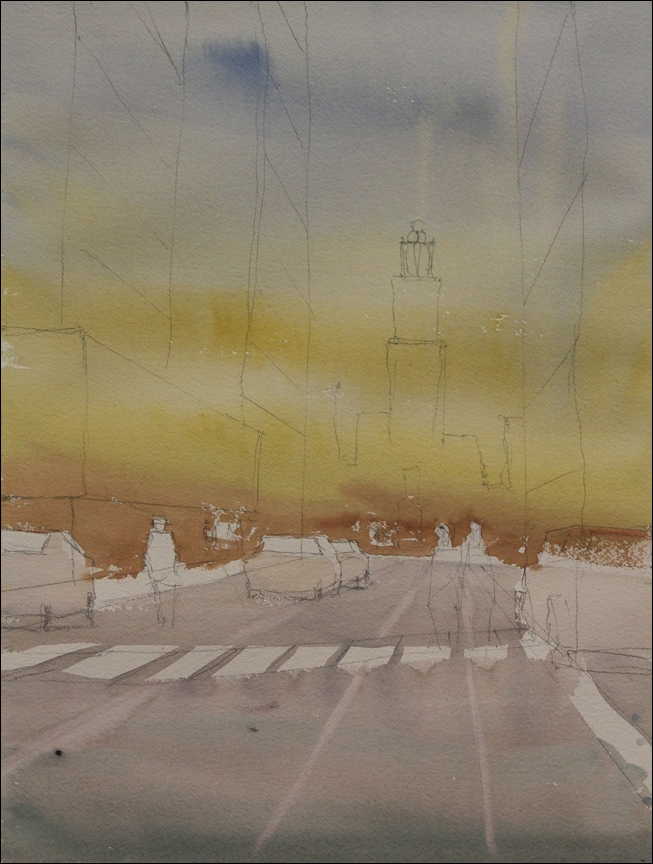Rex Beanland, St Mary's first wash watercolour, 20 x 15