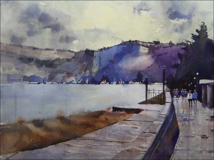 Rex Beanland, Seaton Beach, watercolour 15 x 20