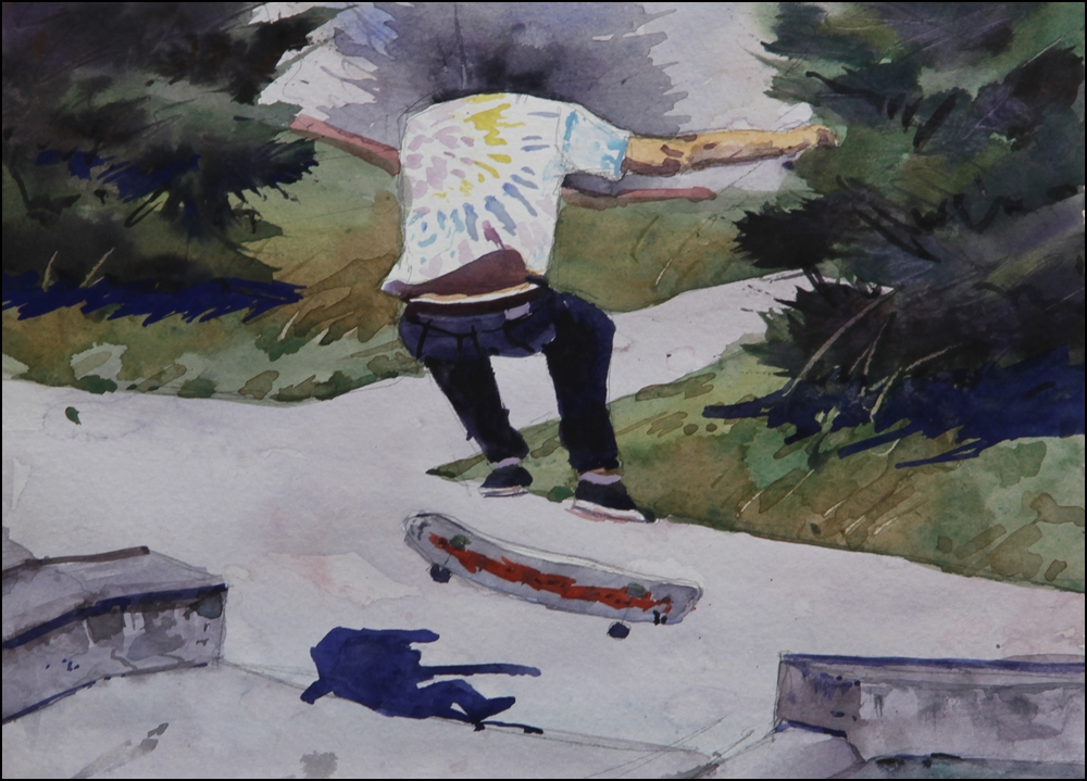 Rex Beanland, Skateboard Flip, watercolour, 9 x 12