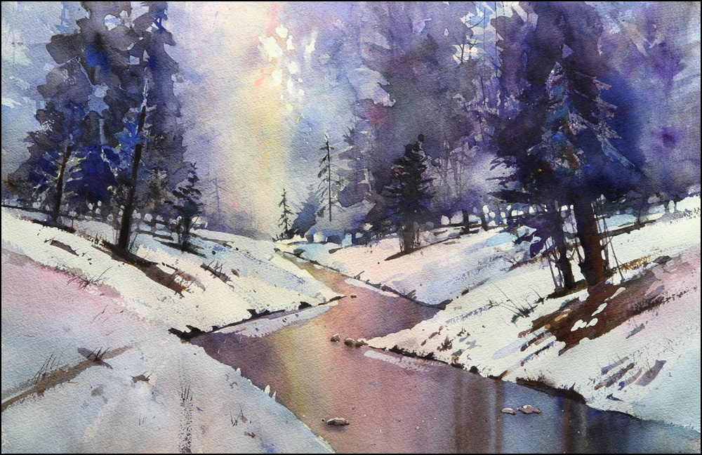 Rex Beanland, Elbow Creek final, watercolour, 15 x 22