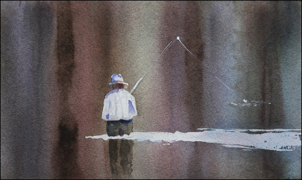 Rex Beanland, Fishing The Bow 2, watercolour, 8 x 10