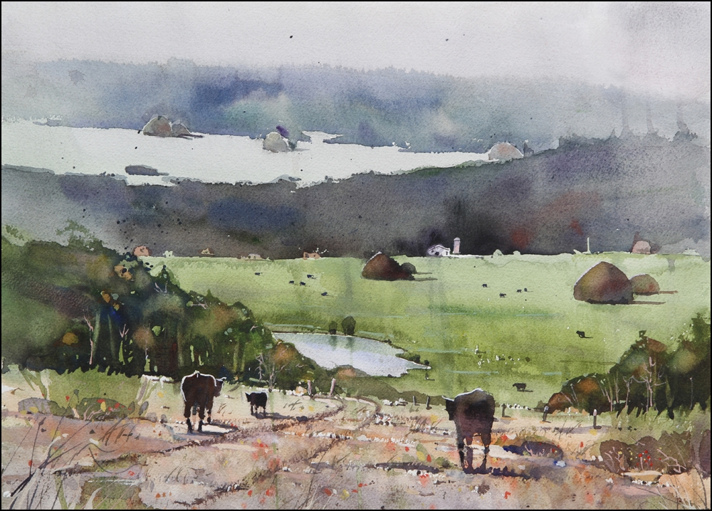 Rex Beanland, Foothills & Cows, watercolour, 15 x 20