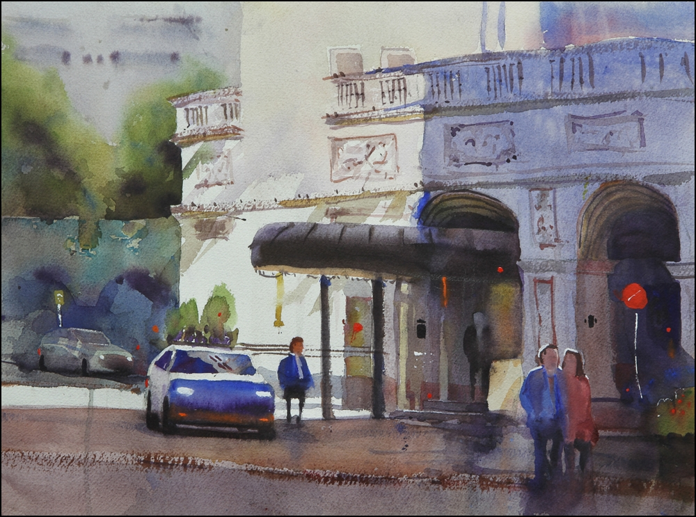 Rex Beanland, Hotel Mac Entrance 3, watercolour 15 x 20