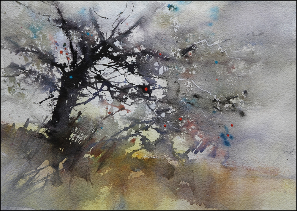 Rex Beanland, Glenmore Tree 1, watercolour, 15 x 22