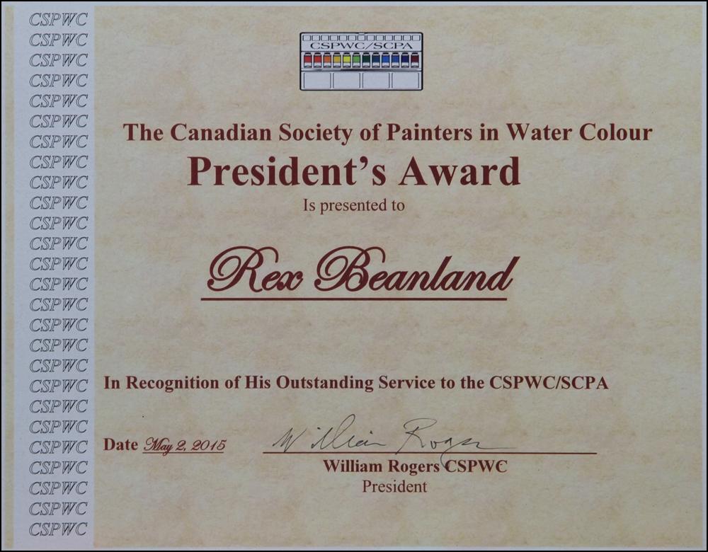 Rex Beanland, President's Award