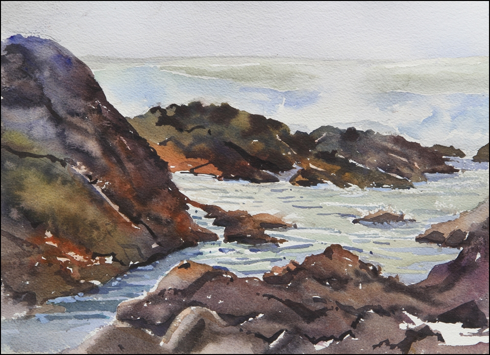 Rex Beanland, Asilomar State Beach, watercolour 12 x 16