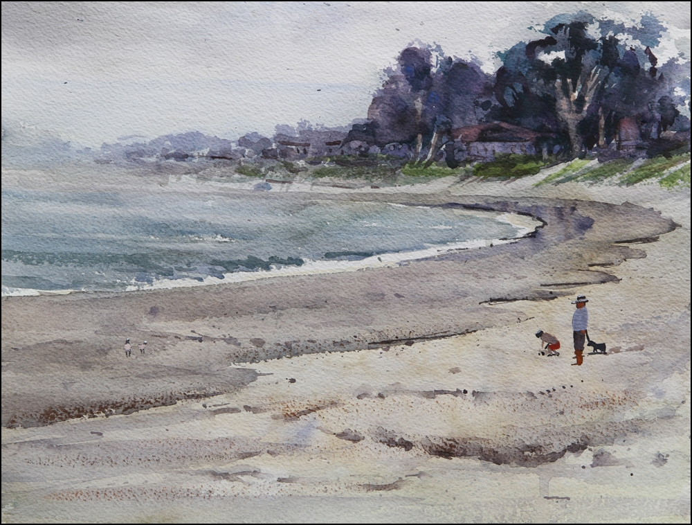 Rex Beanland, Monterey Beach, watercolour, 12 x 16