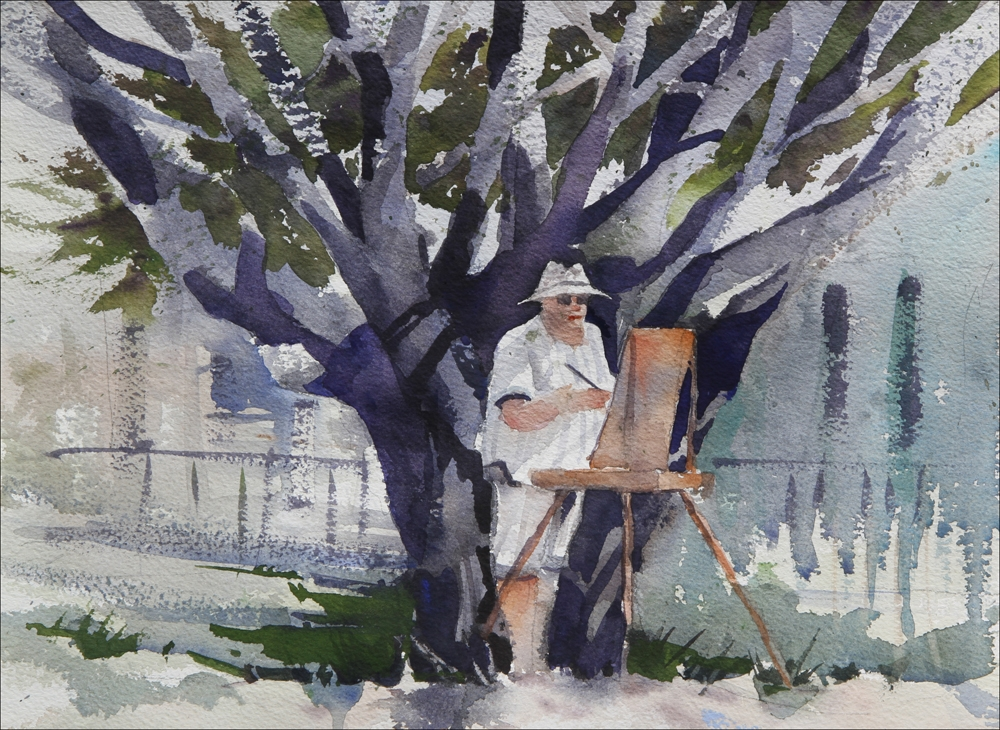 Rex Beanland, Woman In Front Of Tree, watercolour, 12 x 16