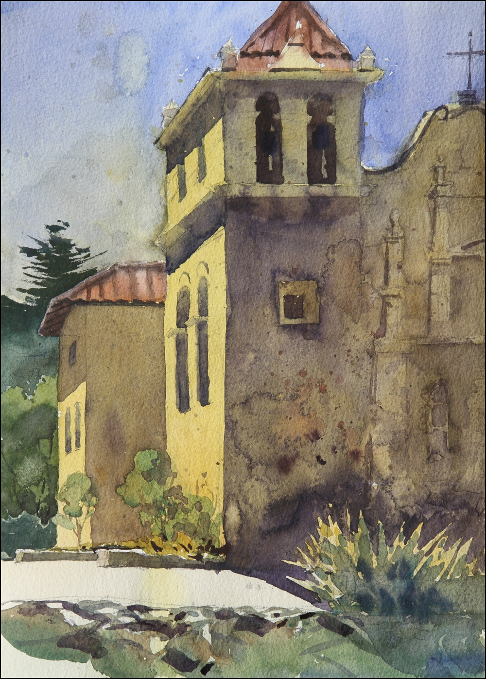 Rex Beanland, Monterey Church, watercolour, 12 x 16
