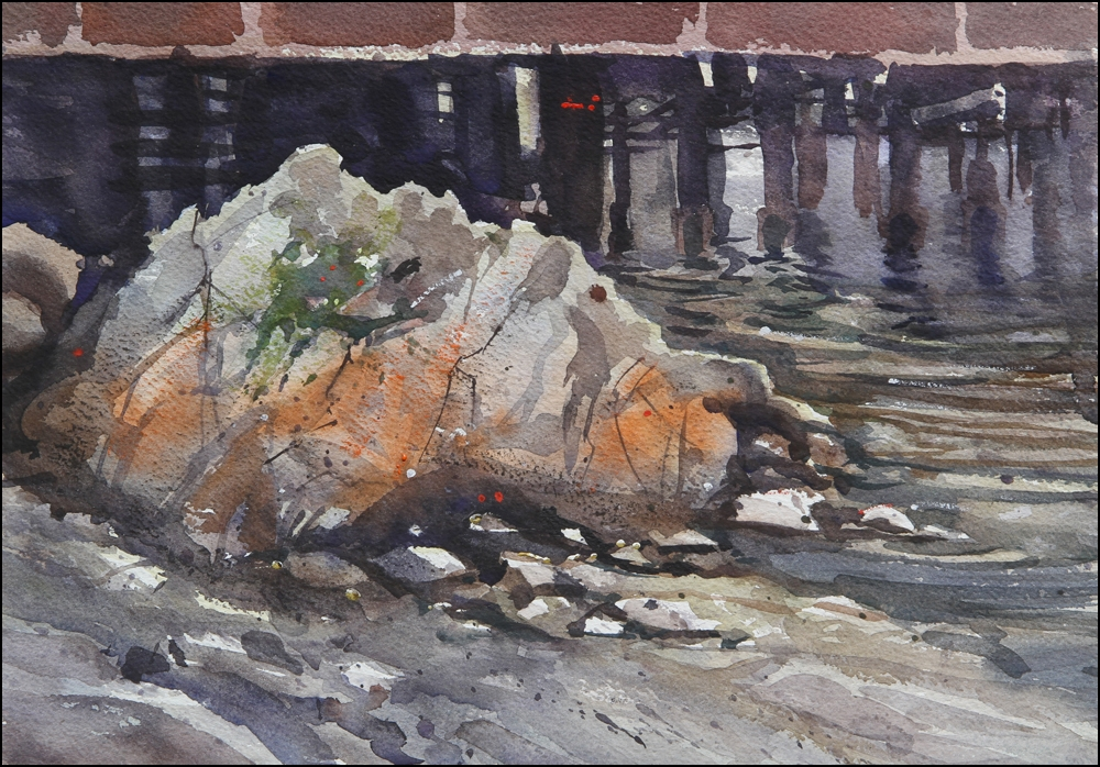 Rex Beanland, Fisherman's Wharf, watercolour, 12 x 16