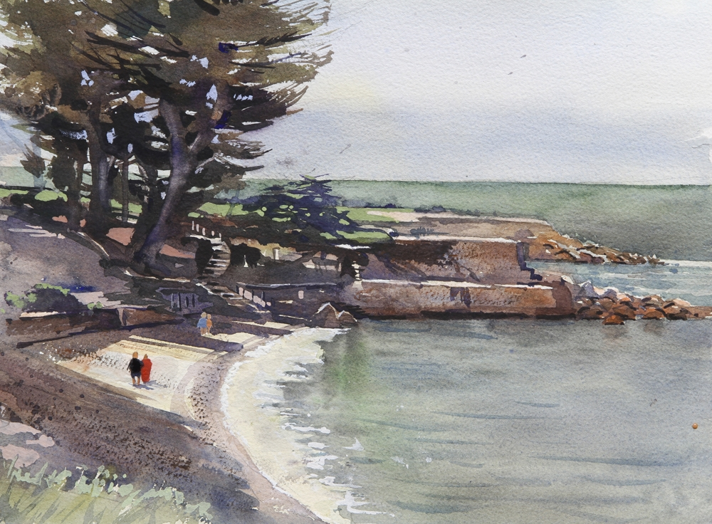 Rex Beanland, Lover's Point, watercolour, 12 x 16