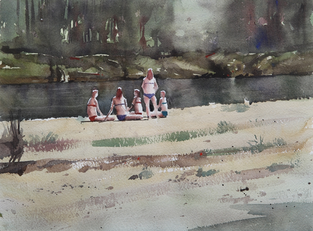 Rex Beanland, Swimming In The Elbow River, watercolour, 12 x 16
