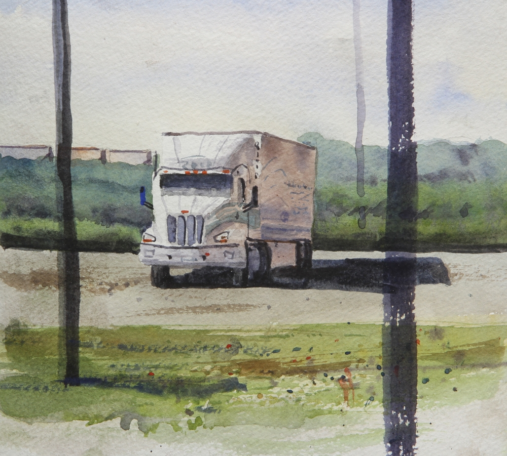 Rex Beanland, Early morning on the road, watercolour, 10 x 11