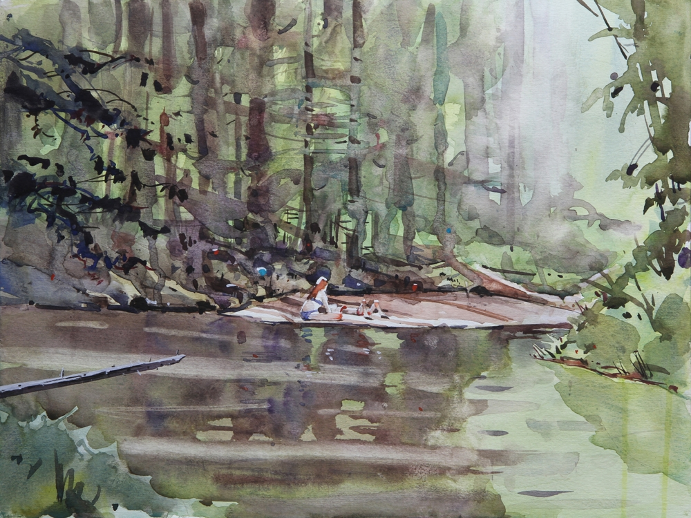 Rex Beanland, Sunbathing In Griffith Woods, watercolour, 12 x 16