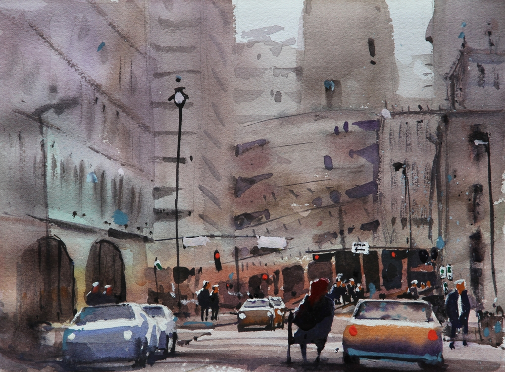 Rex Beanland, Inn From The Cold (Study), watercolour, 18 x 24