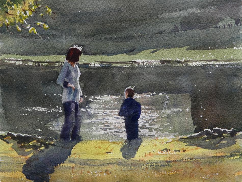 Rex Beanland, Woman & Child, Boston Common, watercolour, 9 x 12