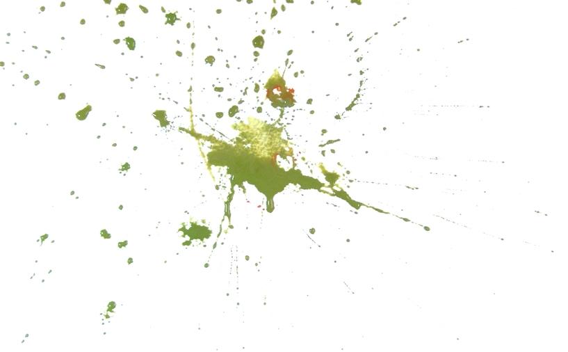 Rex Beanland, green blob, watercolour