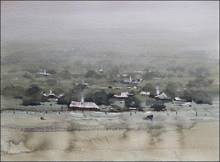 Rex Beanland, Aussie Landscape, watercolour, 11 x 15