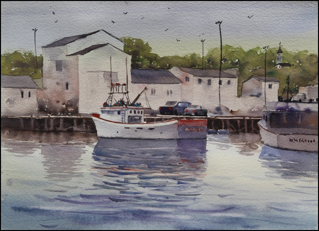 Rex Beanland, Digby Harbour, watercolour, 11 x 15
