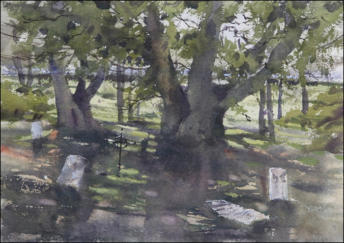 Rex Beanland, Indian Cemetery, watercolour, 11 x 15