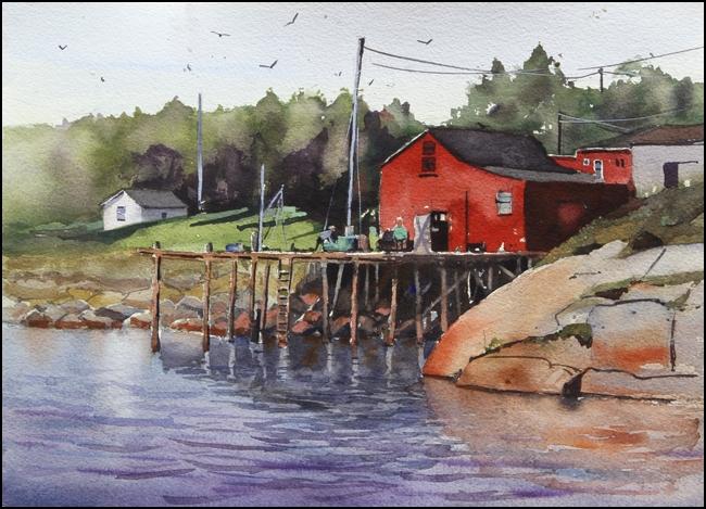Rex Beanland, Indian Harbour, watercolour, 11 x 15