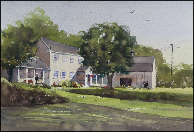 Rex Beanland, Officer's House, watercolour, 11 x 15