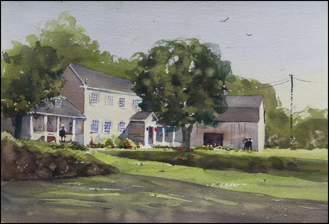 Rex Beanland, Officer's House, watercolour, 11 x 15