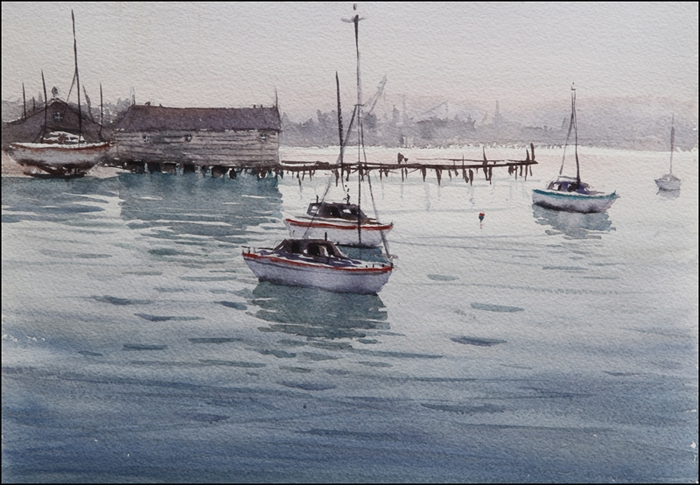 Rex Beanland, Rockport Harbour 2, watercolour, 11 x 15