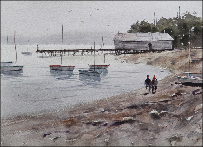 Rex Beanland, Rockport Harbour 2 , watercolour, 15 x 11