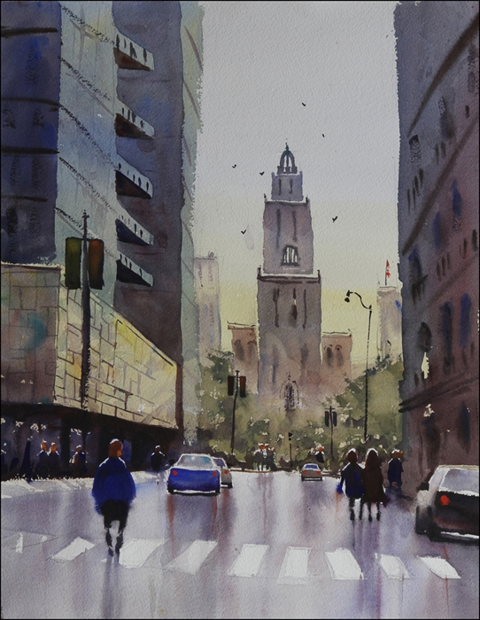 Rex Beanland, St Mary's, watercolour, 15 x 20