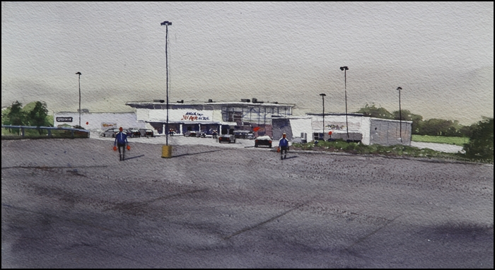 Rex Beanland, Superstore Yarmouth, watercolour, 11 x 15