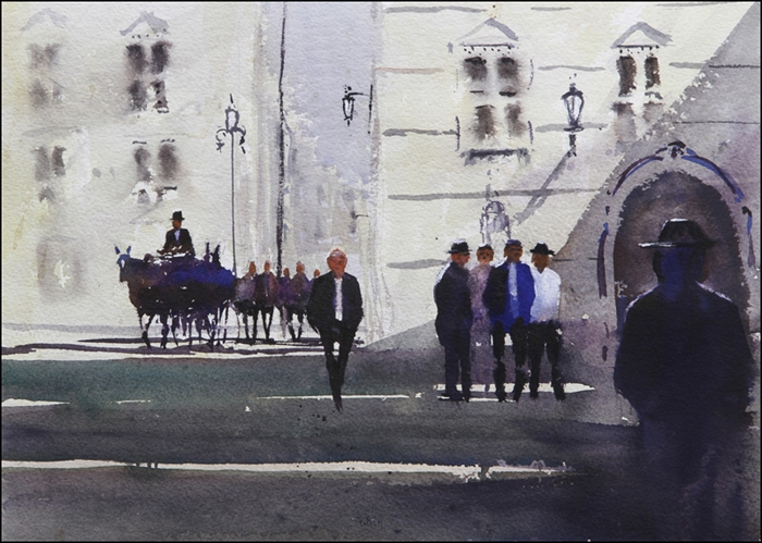 Rex Beanland, Vienna, watercolour, 11 x 15