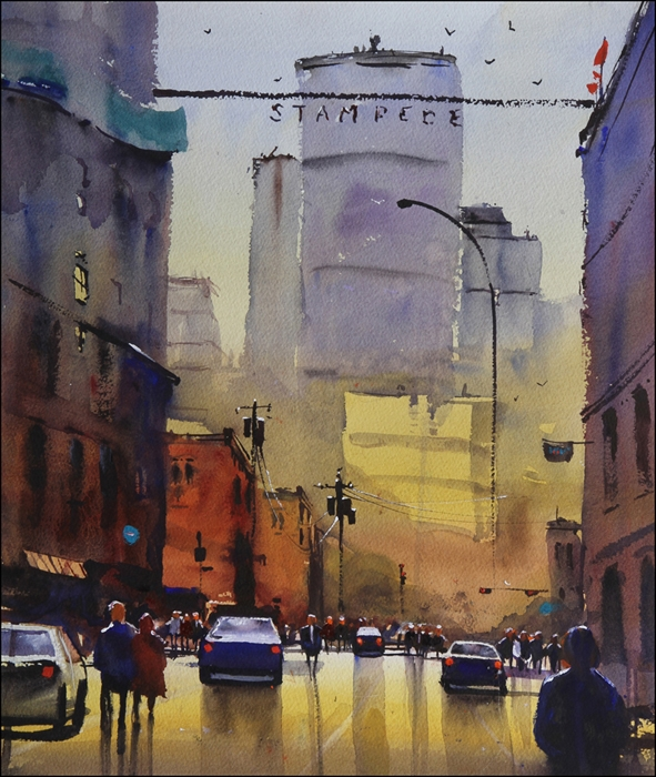 Rex Beanland, Winter Sun, Inglewood watercolour, 11 x 15
