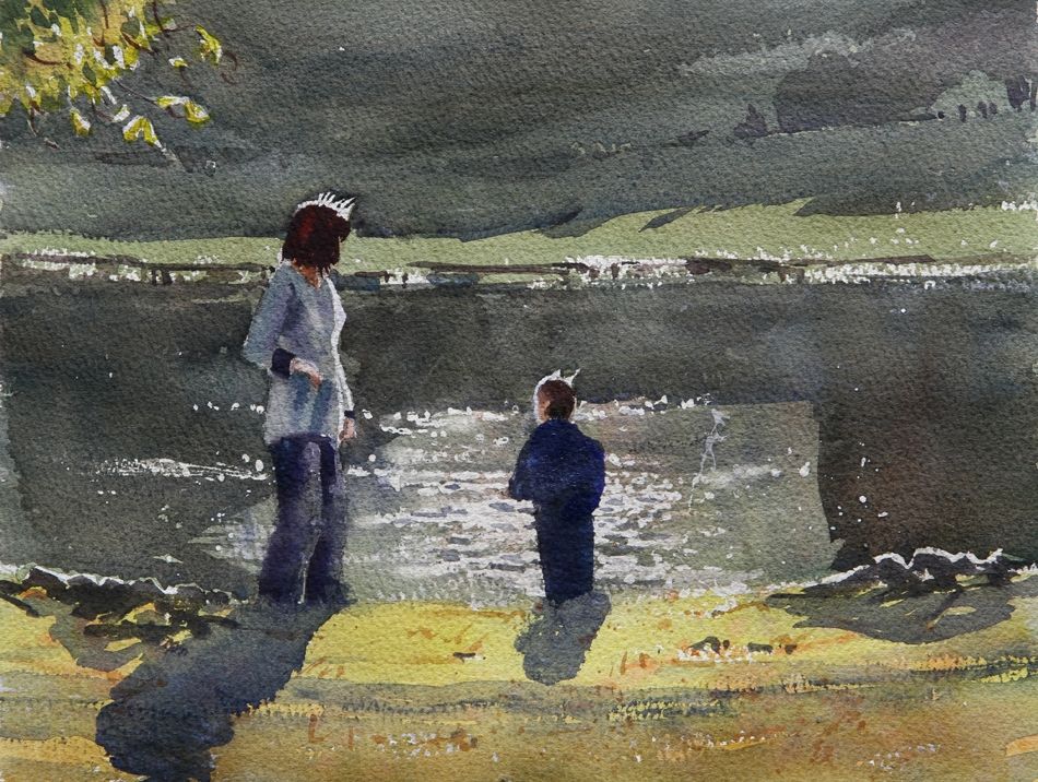 Rex Beanland, Woman & Child, Boston Common, watercolour, 11 x 15