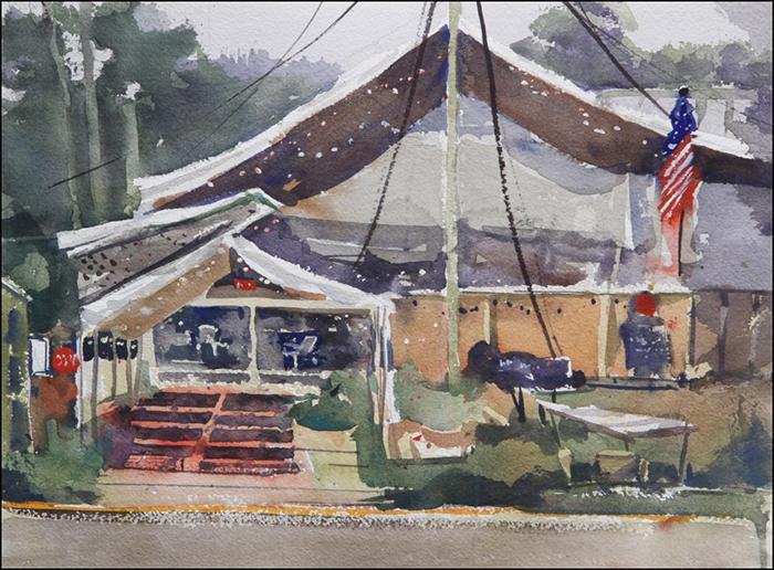 Rex Beanland, Burnt Down Cafe, watercolour, 11 x 15