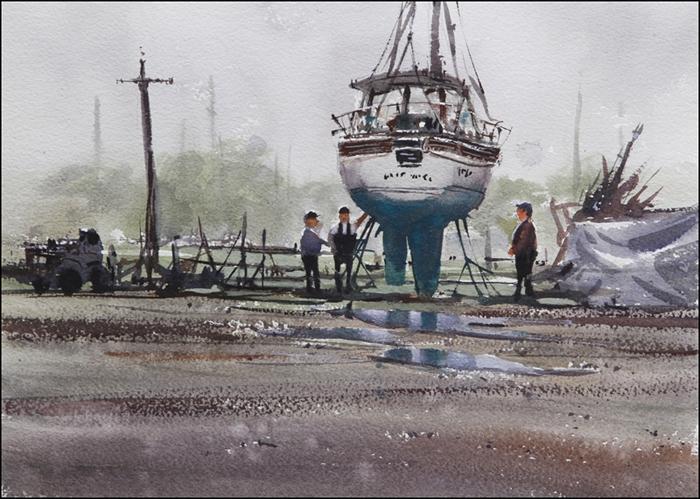Rex Beanland, Dry Dock, watercolour, 11 x 15