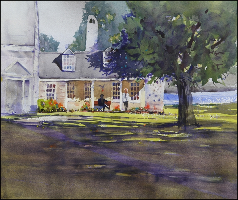 Rex Beanland, The Porch In Summer, watercolour, 14 x 17