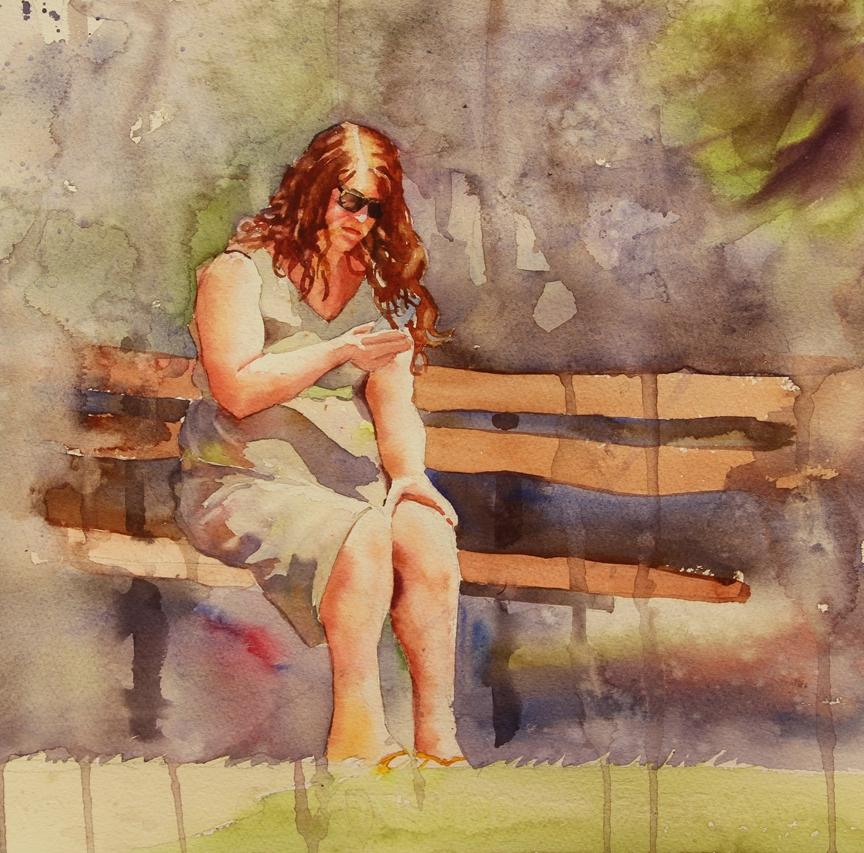 Rex Beanland, Girl In The Sun, watercolour, 12 x 12