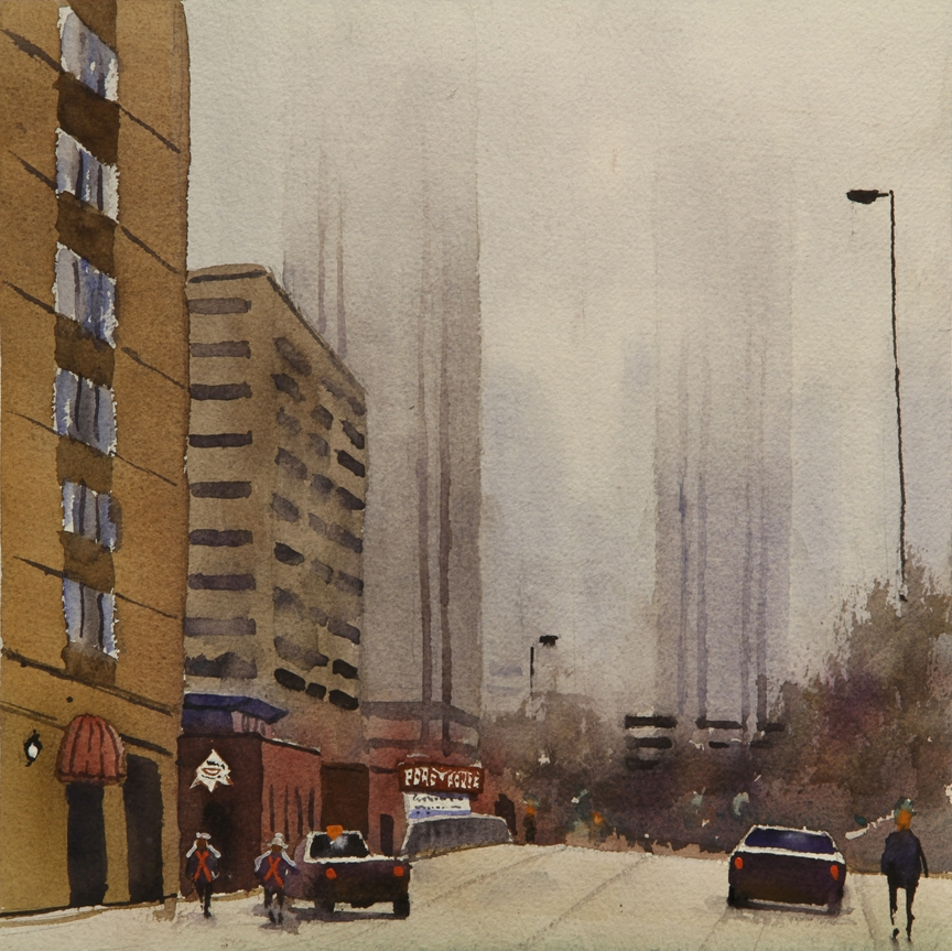 Rex Beanland, Misty Downtown, watercolour, 12 x 12