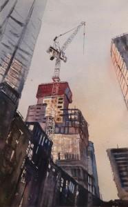 Rex Beanland, Pushing Up (Construction Season, Downtown), watercolour, 17 x 11