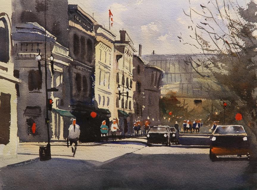 Rex Beanland, Stephen Ave & Centre St, watercolour, 11 x 14