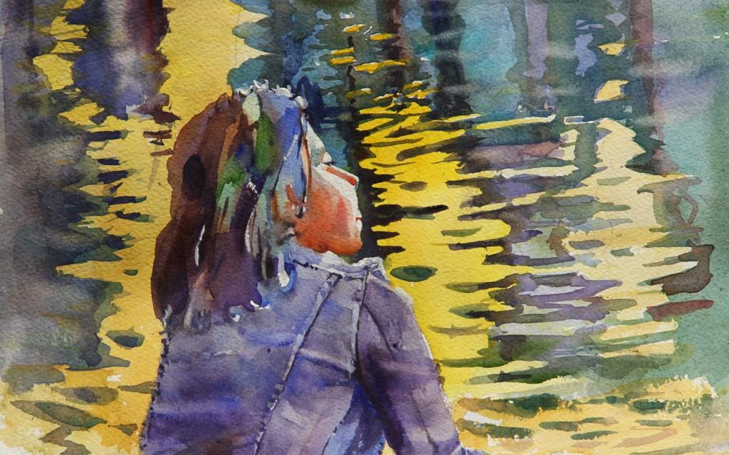 Rex Beanland, Pondering Study, watercolour, 9 x 14