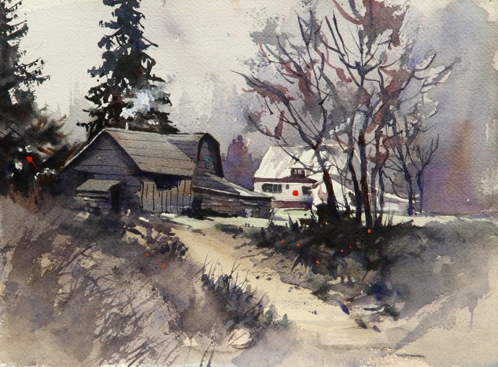 Rex Beanland, Sicamous, Cabin, watercolour, 9 x 12