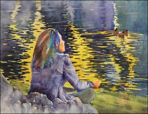 Rex Beanland, Pondering, watercolour, 16 x 20