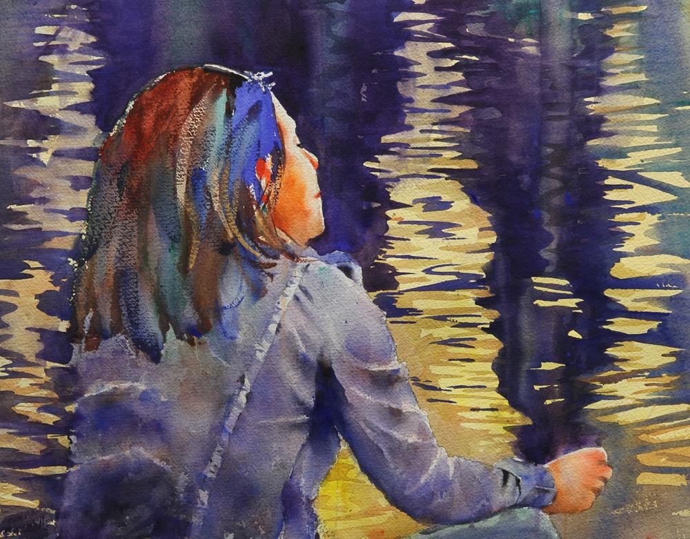 Rex Beanland, Pondering, watercolour,14 x 18