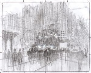 Rex Beanland, Wet Day In Toronto thumbnail sketch